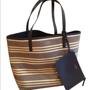 Kate Spade Striped Purse with Attached Wristlet